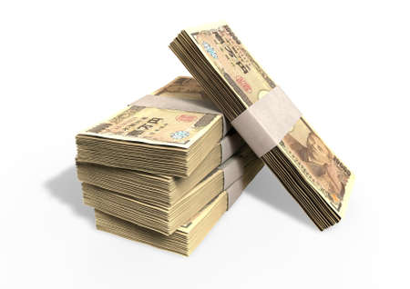 yen: A stack of bundled Japanese yen banknotes