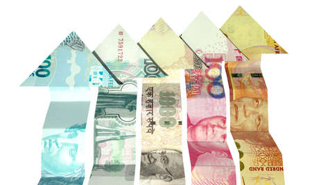 rand: A group of five arrow shaped notes rising representing the five BRICS nations on an isolated white background