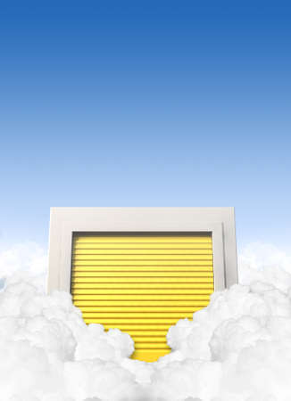 A concept depicting a storage locker with a yellow roller door located in a cloud on a blue sky background photo