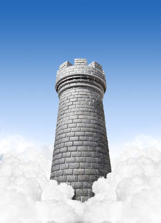 chess rook: A concept image showing a brick made chess castles turret in the clouds on a blue sky background