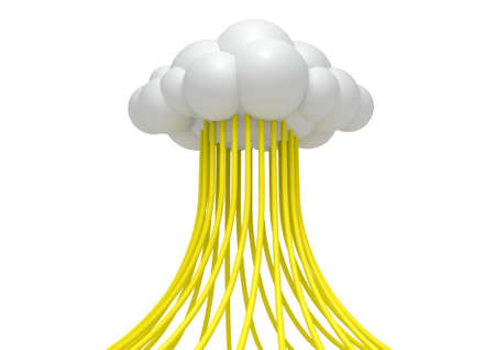 depiction: A concept depiction a stylized cloud with cables feeding data into it on an isolated white background