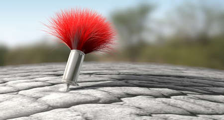 A regular metal tranquilizer dart with a red feathered tail penetrated into an elephant like skin on an outdoor background