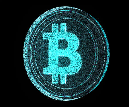 opensource: A digital bitcoin made out of blue pixels on an isolated back background Stock Photo
