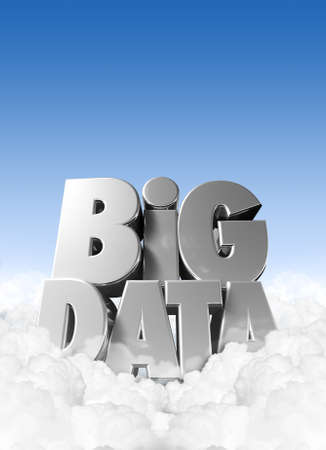 big idea: Extruded text spelling ot the term Big Data nestled in some fluffly clouds with blue sky and copy space above
