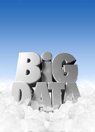 big: Extruido ortograf�a texto del AT el t�rmino Big Data enclavado en algunas nubes fluffly con el cielo azul y espacio de copia por encima de Foto de archivo