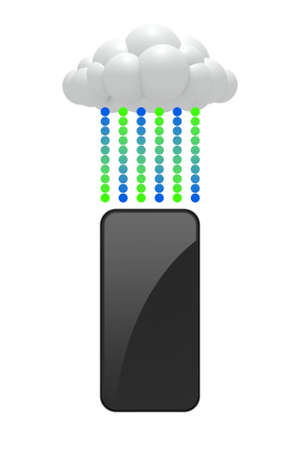 An infographic of a smartphone and a cloud with green and blue circles symbolizing data being synced between them on an isolated white background  photo