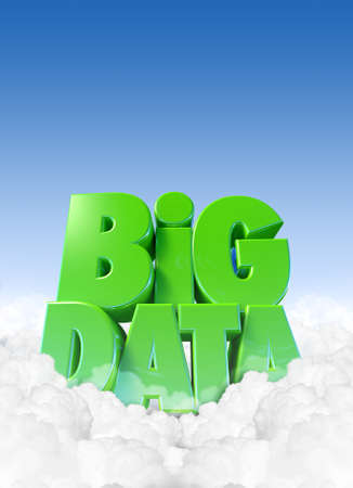 Extruded text spelling out the term Big Data nestled in some fluffly clouds with blue sky and copy space above photo
