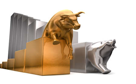 downward: A gold bull and a platinum bear economic trends competing side by side on an isolated white background Stock Photo