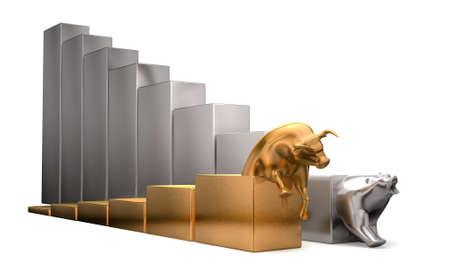 oso: Un toro de oro y platino dan tendencias econ�micas que compiten lado a lado en un fondo blanco aislado Foto de archivo