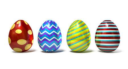 isolated  white: Una collezione di quattro fogli coperti uova di Pasqua in una riga su uno sfondo bianco isolato