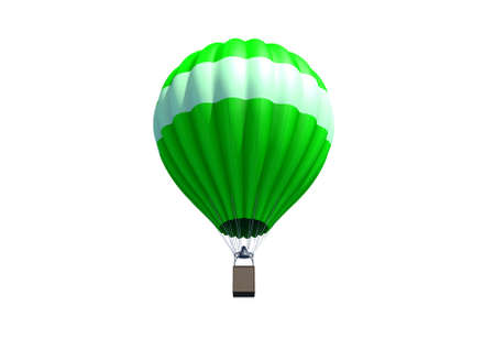 A green hot air balloon isolated on white background Stock Photo