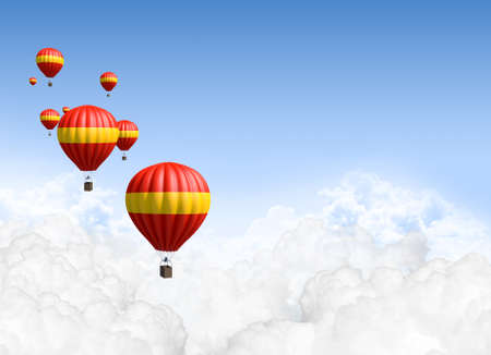 weather balloon: A collection of red and yellow hot air balloon floating above the clouds on a clear blue sky background