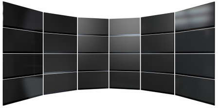 wall mounted: A wall of 24 stacked flat screen televisions mounted in an arc shape on an isolated white background