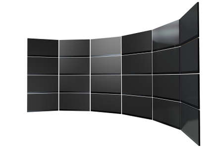 A wall of 24 stacked flat screen televisions mounted in an arc shape on an isolated white background photo