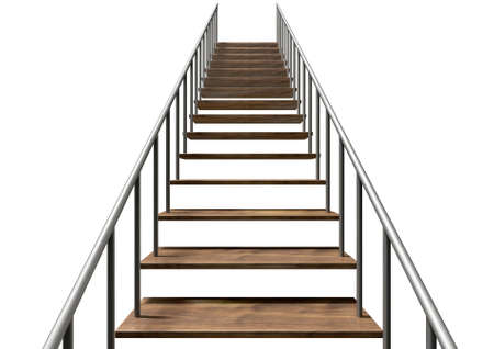 metal handrail: A staircase made of wooden steps and a metal handrail on an isolated white background