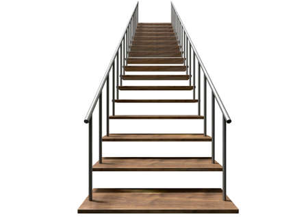 handrail: A staircase made of wooden steps and a metal handrail on an isolated white background