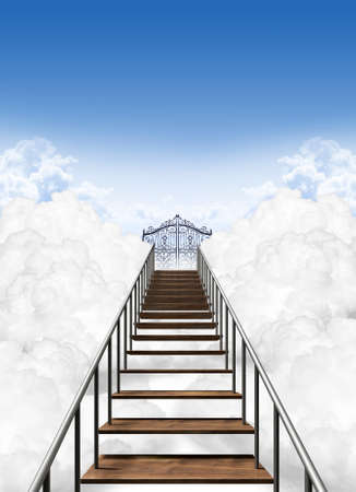 seventh: A depiction of the stairway to heavens pearly gates above the clouds on a clear blue sky background