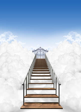 on cloud nine: A depiction of the stairway to heavens pearly gates above the clouds on a clear blue sky background