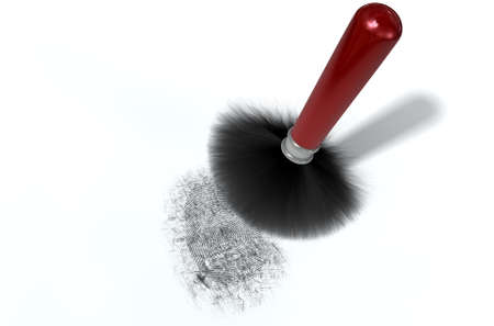 talcum: A crime scene brush dusting black talcum powder revealing and a fingerprint mark on an isolated white background