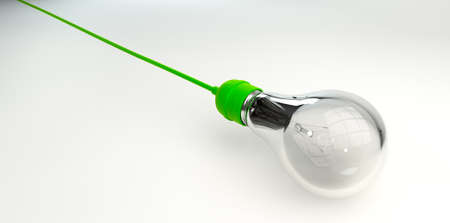 light fitting: A regular unlit light bulb fitted into a bright green light fitting with a cord on an isolated background