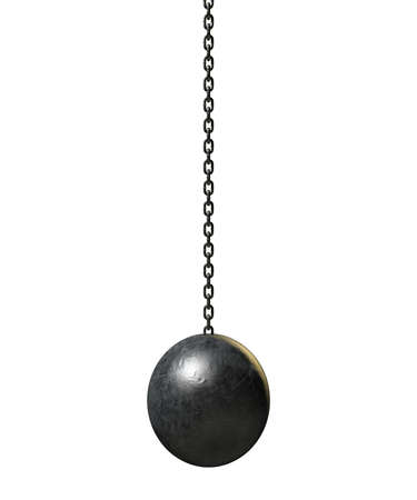 A regular metal wrecking ball attached to a chain on an isolated white backgrund photo