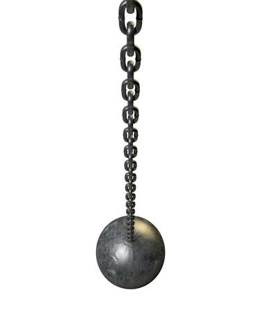 A regular metal wrecking ball attached to a chain on an isolated white background photo