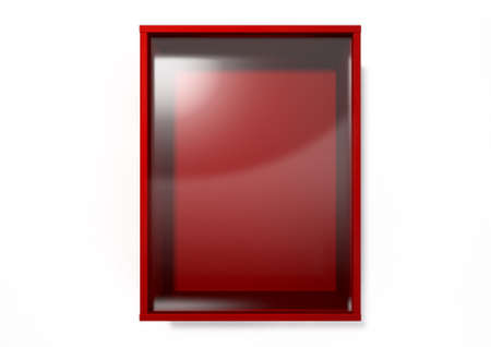 glass containers: An empty red emergency box with an in case of emergency breakable glass on the front on an isolated background