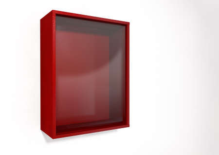 breakable: An empty red emergency box with an in case of emergency breakable glass on the front on an isolated background