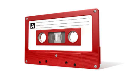 audio cassette: A close up view of a red vintage audio cassette tape with a white label on an isolated white background