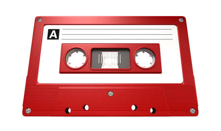 A close up view of a red vintage audio cassette tape with a white label on an isolated white background photo