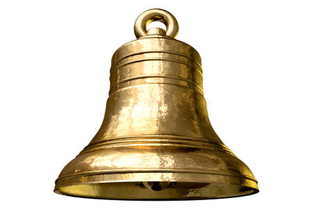 resonate: A regular gold metal church bell on an isolated white background Stock Photo
