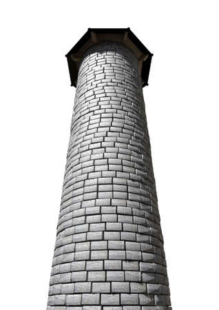 A plain stone tower turret with a wood and iron roof on an isolated white background photo