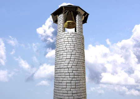 A plain stone tower turret bell tower with a wood and iron roof and a golden metal bell on a cloudy blue sky background photo