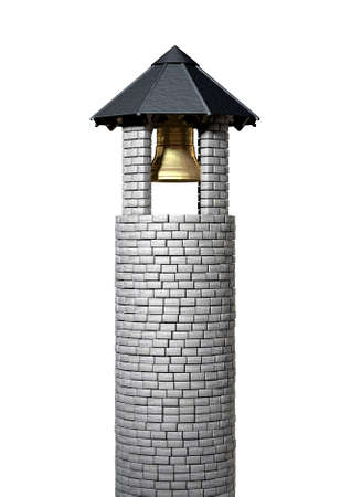 resonate: A plain stone tower turret bell tower with a wood and iron roof and a golden metal bell on an isolated white background