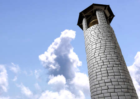 resonate: A plain stone tower turret bell tower with a wood and iron roof and a golden metal bell on a cloudy blue sky background