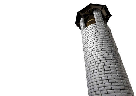 A plain stone tower turret bell tower with a wood and iron roof and a golden metal bell on an isolated white background photo
