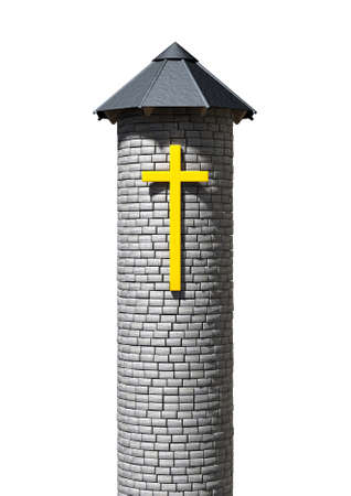 A plain stone tower turret with a wood and iron roof and a yellow crucifix on it on an isolated white background photo