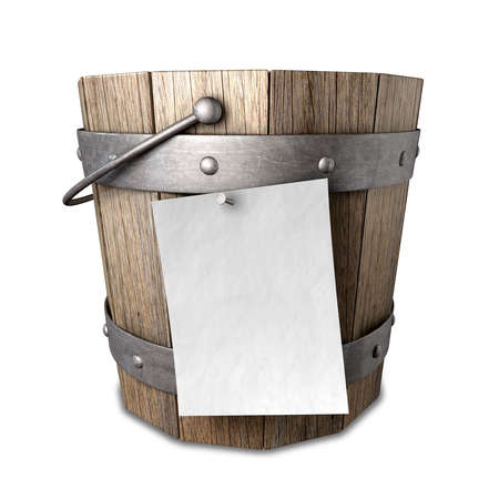 attached: A vintage wooden bucket with metal ring supports and a handle and a blank paper attached to the front with a nail on an isolated background