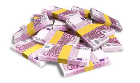 factura: Un montón de fajos dispersos al azar de los billetes en euros europeos en un fondo aislado Foto de archivo