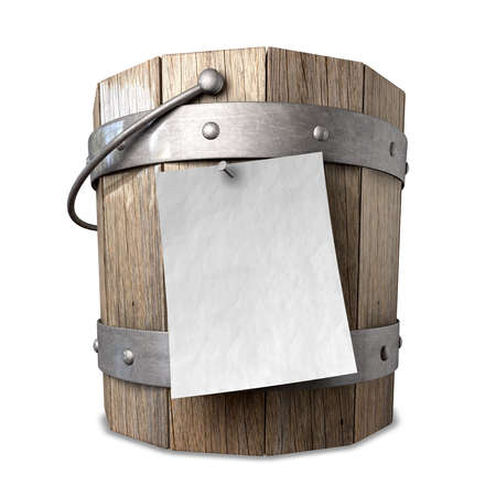 A vintage wooden bucket with metal ring supports and a handle and a blank paper attached to the front