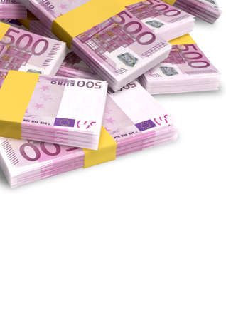 wads: A pile of randomly scattered wads of European euro banknotes on an isolated on white Stock Photo
