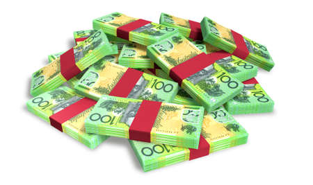 notes: A pile of randomly scattered wads of Australian dollar banknotes isolated on white