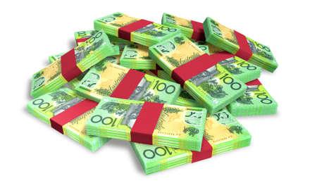 paper note: Un mont�n de fajos de billetes dispersos al azar en d�lares australianos aislados en blanco