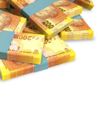 rand: A pile of randomly scattered wads of south african rand banknotes on an isolated on white