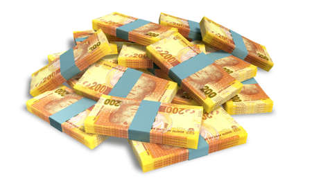 rand: A pile of randomly scattered wads of south african rand banknotes on an isolated background