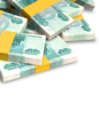 randomly: A pile of randomly scattered wads of russian ruble banknotes  isolated on white