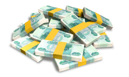 greenbacks: A pile of randomly scattered wads of russian ruble banknotes  isolated on white