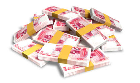 wads: A pile of randomly scattered wads of chinese yuan banknotes isolated on white