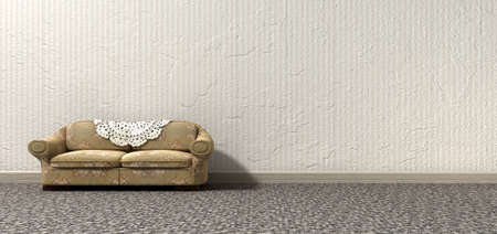 deteriorated: An arty look at grandmas lonely vintage sofa and interior of a bygone lonely era Stock Photo
