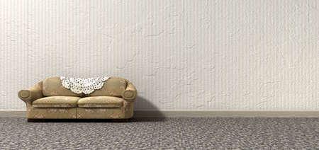 ungeliebt: Ein Blick auf arty einsam vintage Sofa Omas und Innen einer vergangenen �ra einsam